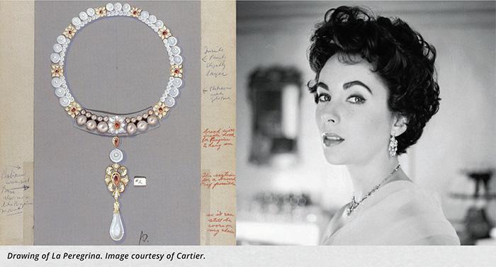 Elizabeth Taylor and La Peregrina (image courtesy of Cartier)