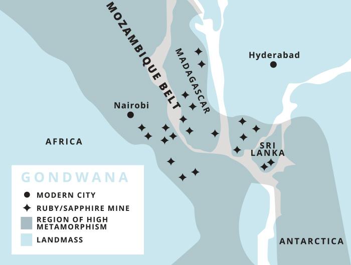 Gondwana with Madagascar and Sri Lanka