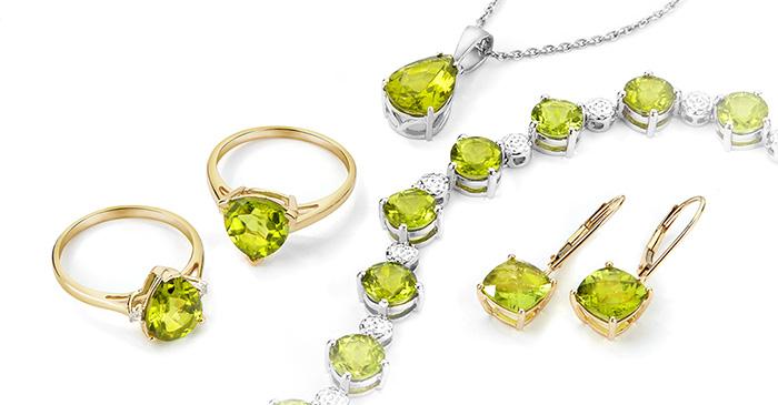 Peridot jewellery selection