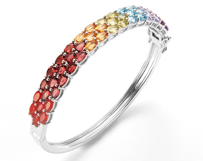 Rainbow gemstone bangle