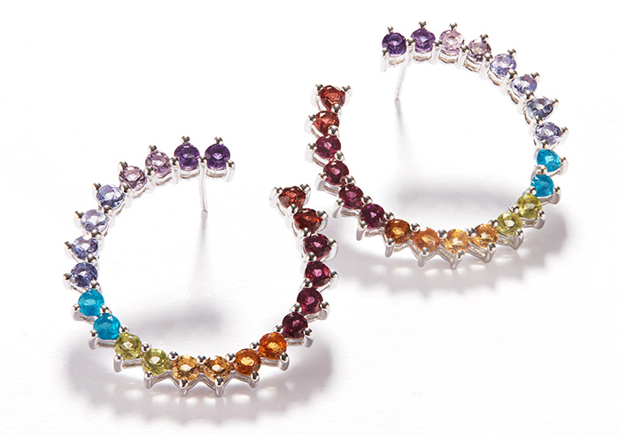 Rainbow gemstone earrings