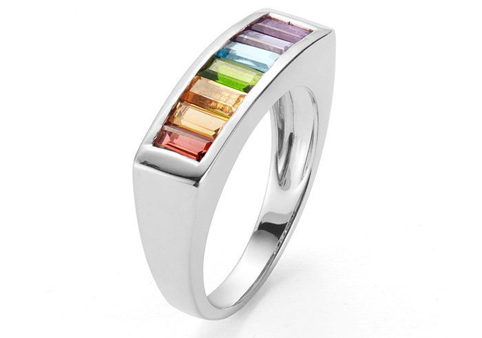 Rainbow gemstone ring