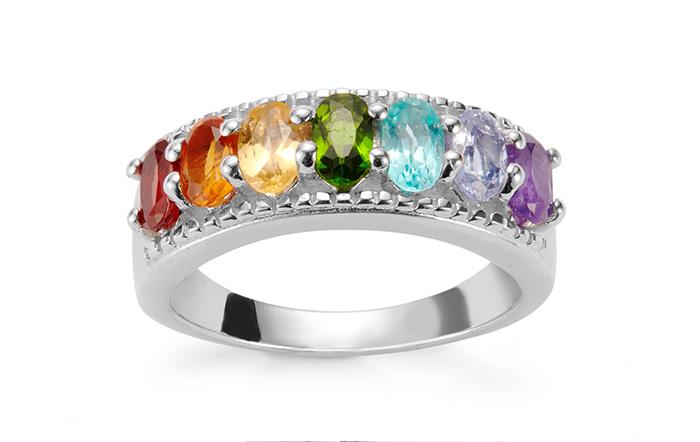 Rainbow gemstone silver ring