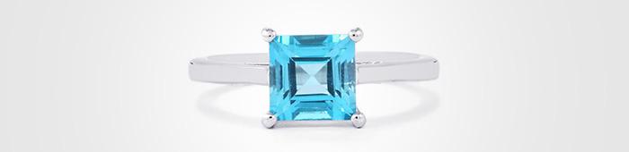 Blue Topaz square cut ring
