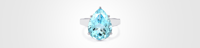 Blue Topaz pear cut ring