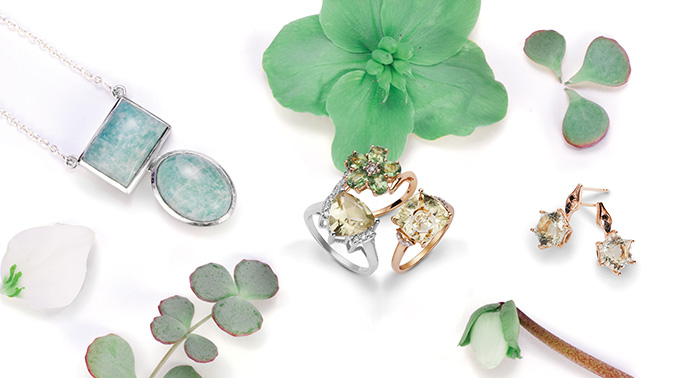 Mint gemstones in springtime colors