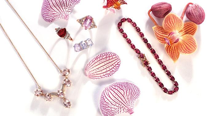 Pink gemstones in springtime colors