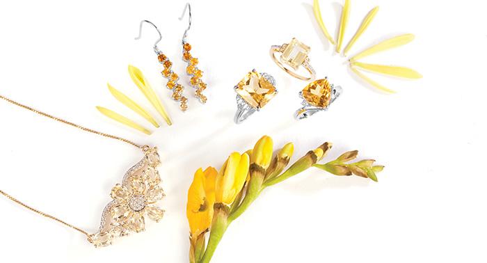 Yellow gemstones in springtime colors