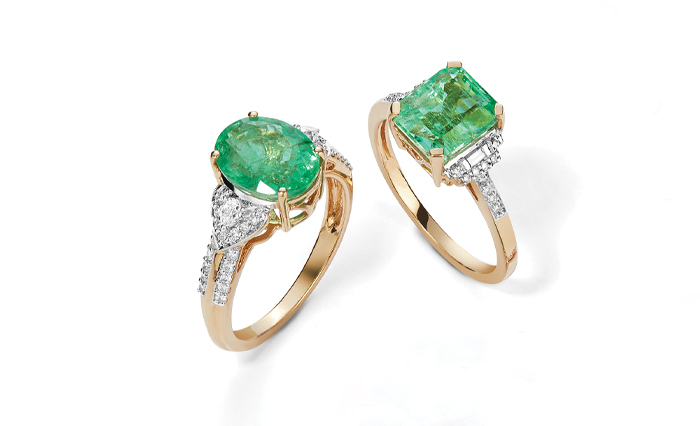 Two rich green Emerald rings from Gemporia