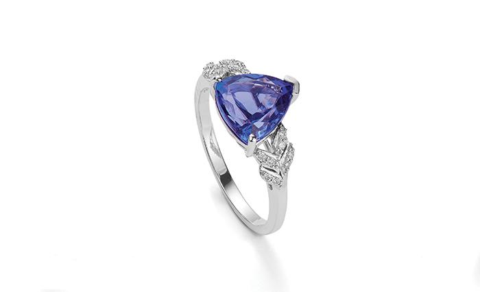 A deep violet-blue Tanzanite ring available at Gemporia