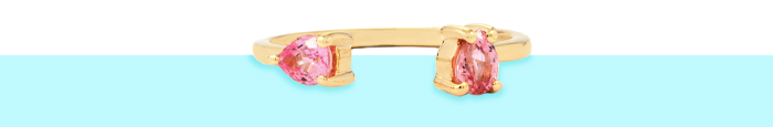Pink sapphire stacking ring in 9 karat gold.