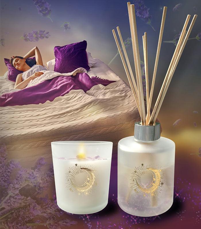 Gem Auras Sleepy Head Candle and Diffuser Set