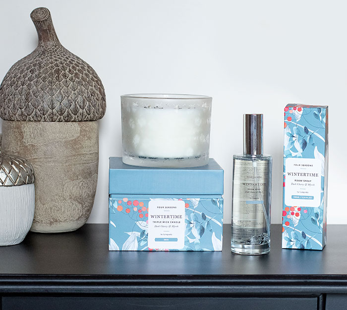 Gem Auras Winter Reed Diffuser, Candle and Room Spray Set