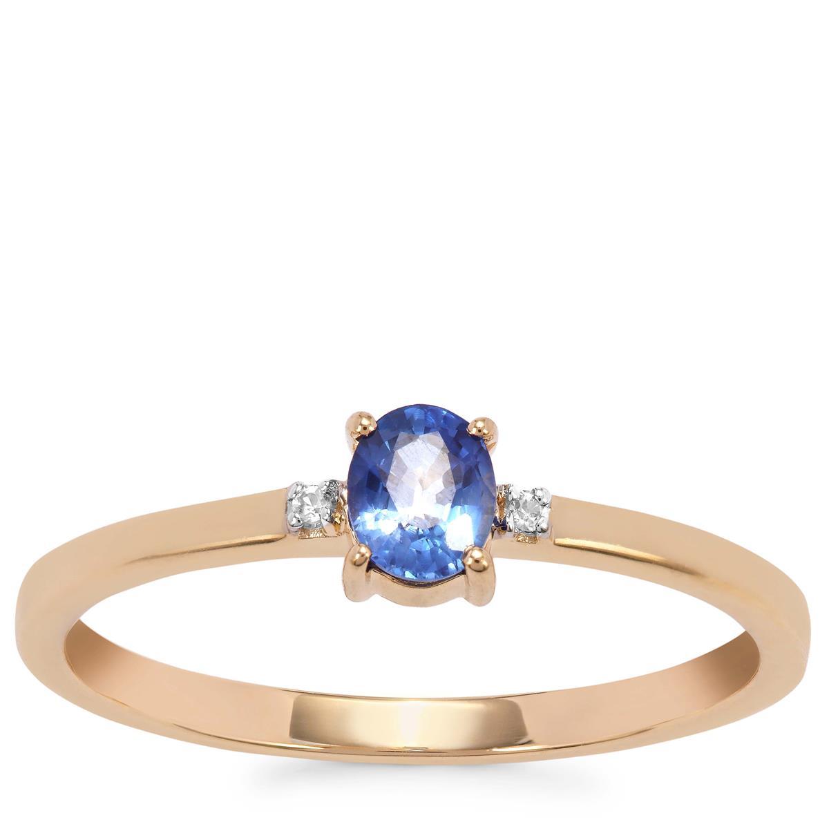 Ceylon Sapphire Ring with White Zircon in 9K Gold 0.35ct