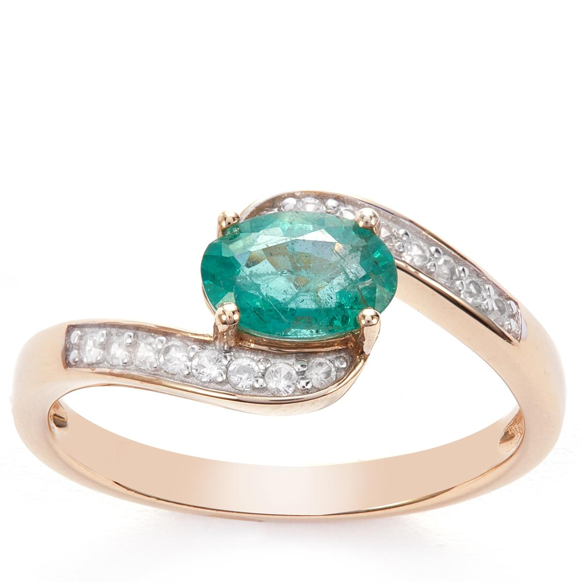 Zambian Emerald Ring With White Zircon In 9k Gold 0 97ct