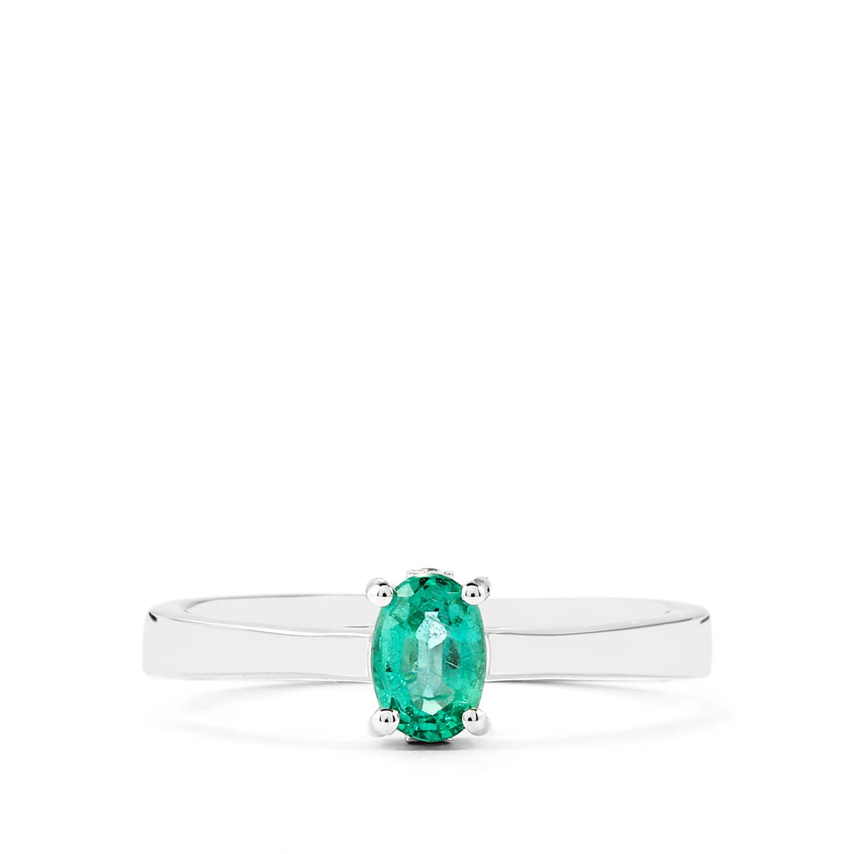 Zambian Emerald Ring With Diamond In Sterling Silver 0