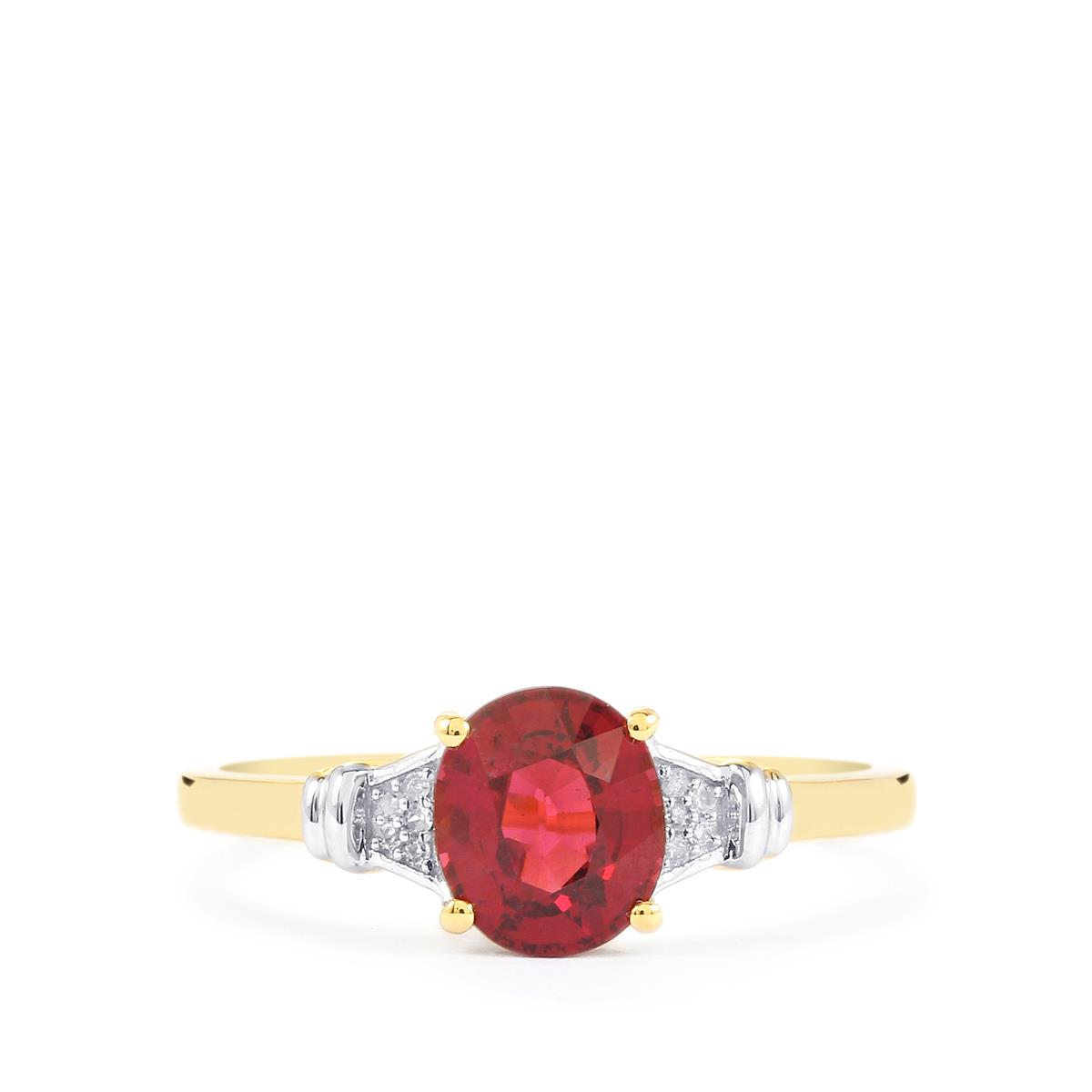 Malawi Garnet Ring with Diamond in 9K Gold 1.58cts