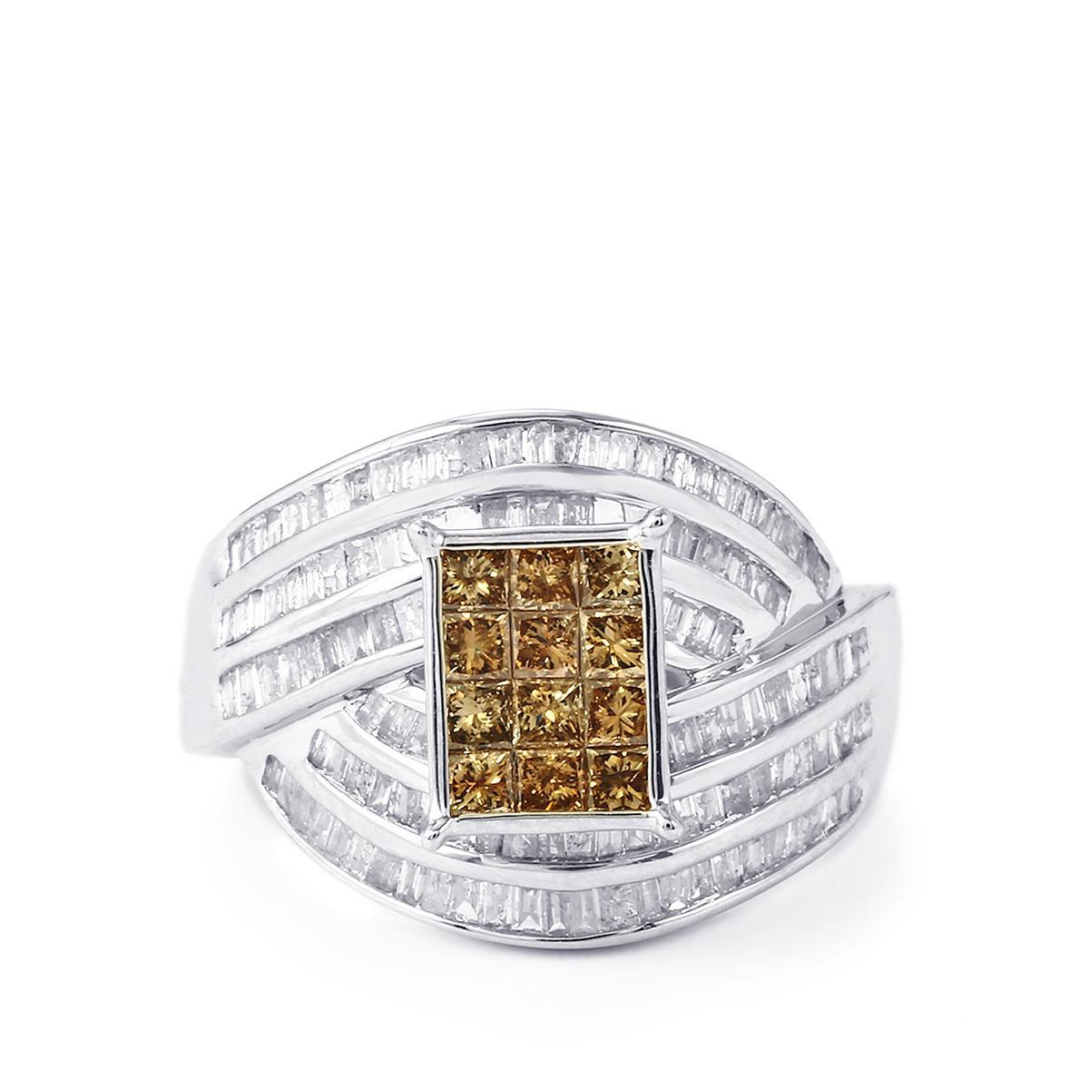champagne diamond ring with white diamond in 9k white gold