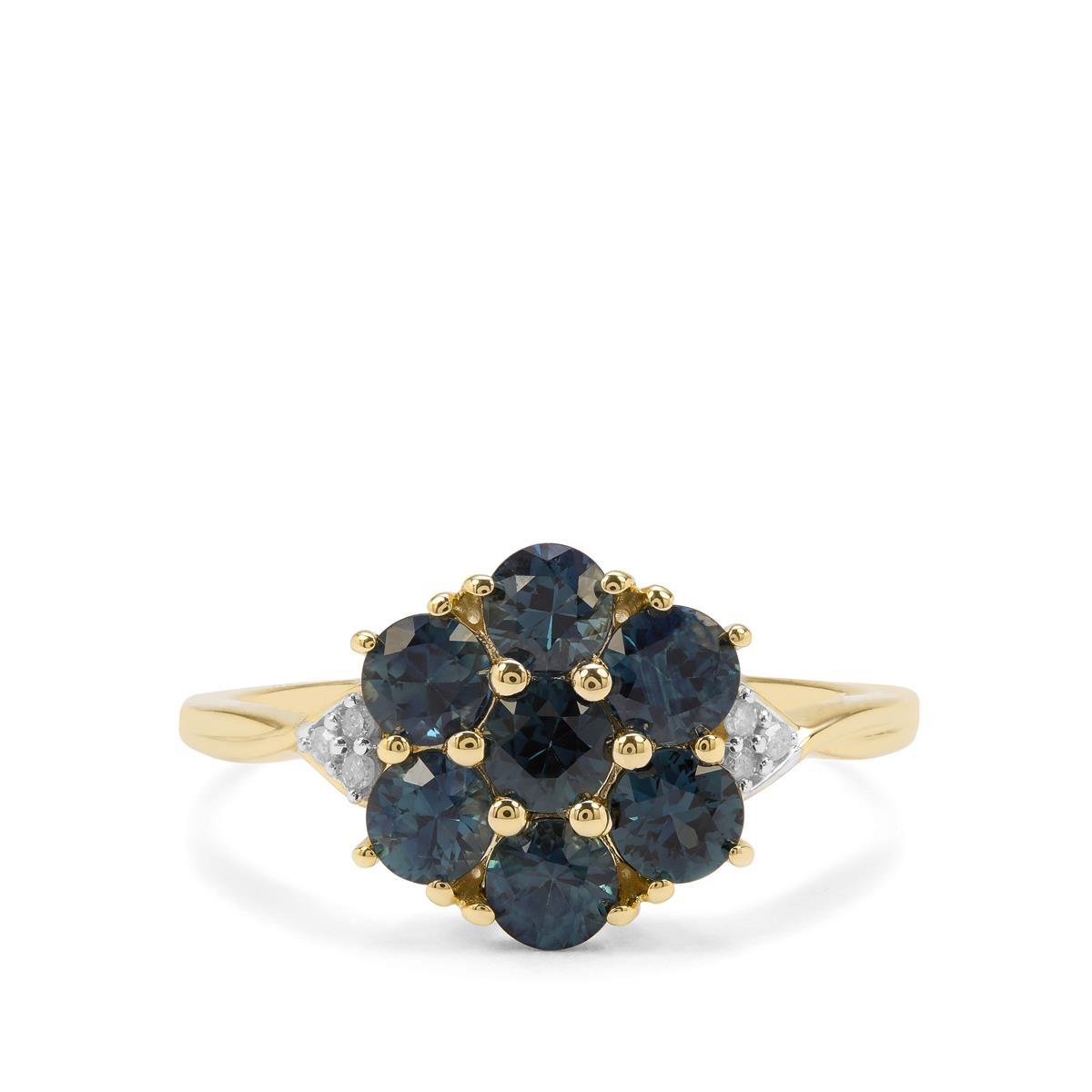 Australian Blue Sapphire /& White Sapphire 9K Gold Ring Gemporia R-S