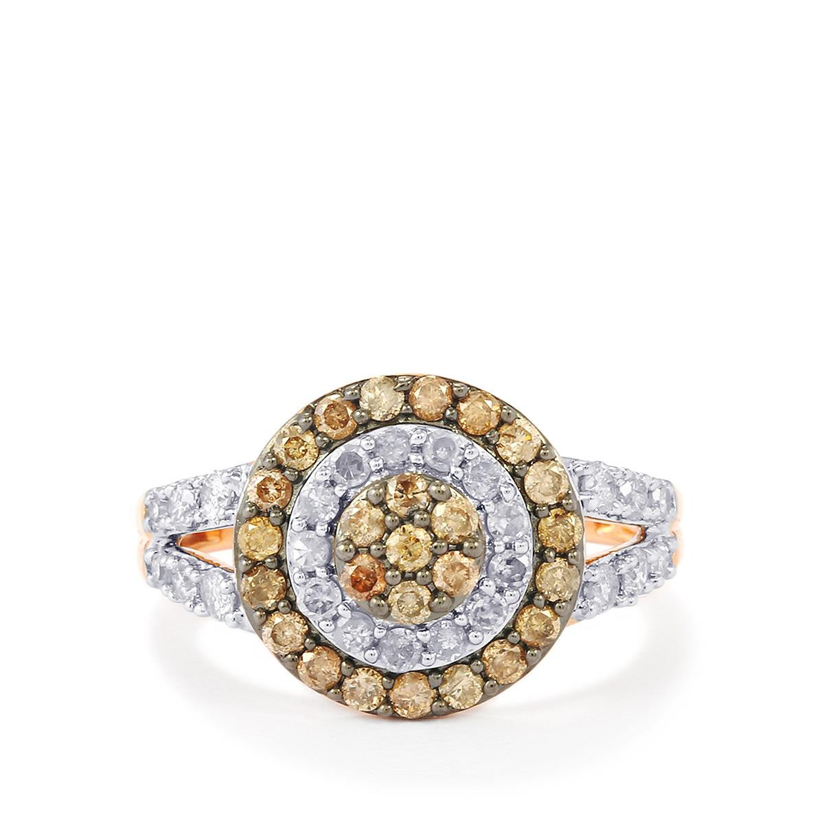 champagne diamond ring with white diamond in 9k rose gold