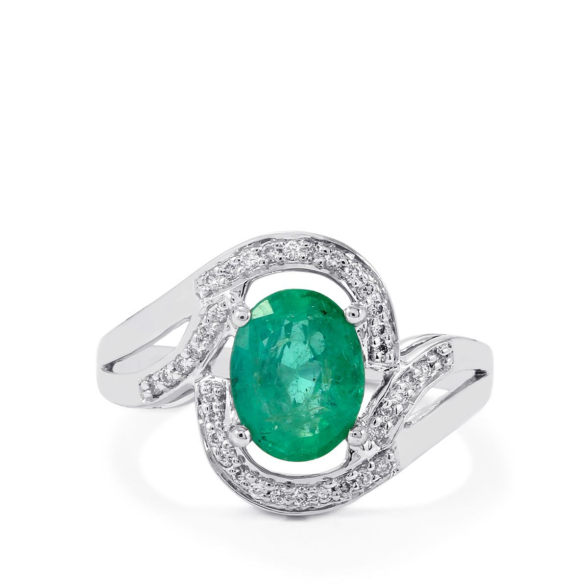 Zambian Emerald Ring With Diamond In 18k White Gold 1