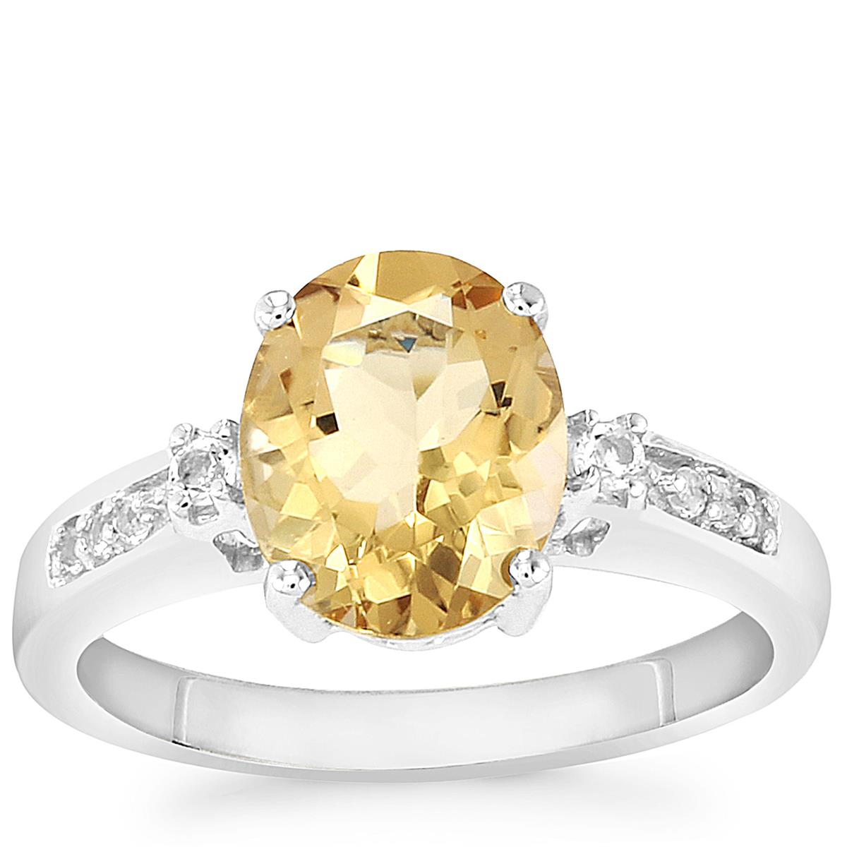 Bolivian Natural Champagne Quartz Ring with White Topaz in Sterling Silver 2.33cts