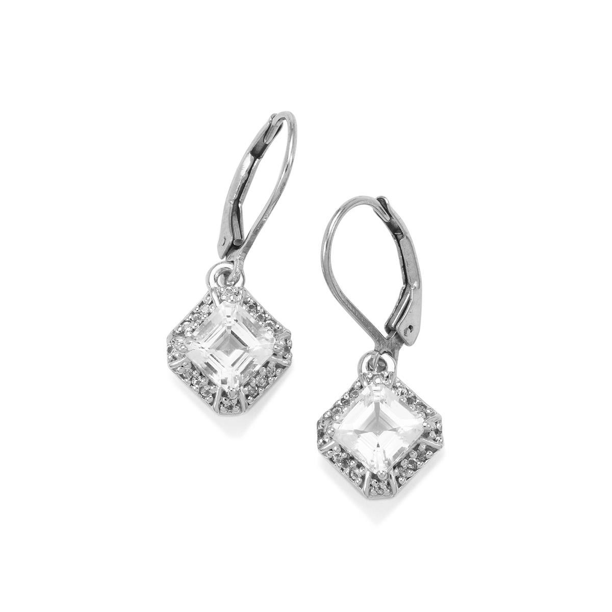 White Topaz Earrings In Sterling Silver 2 92cts