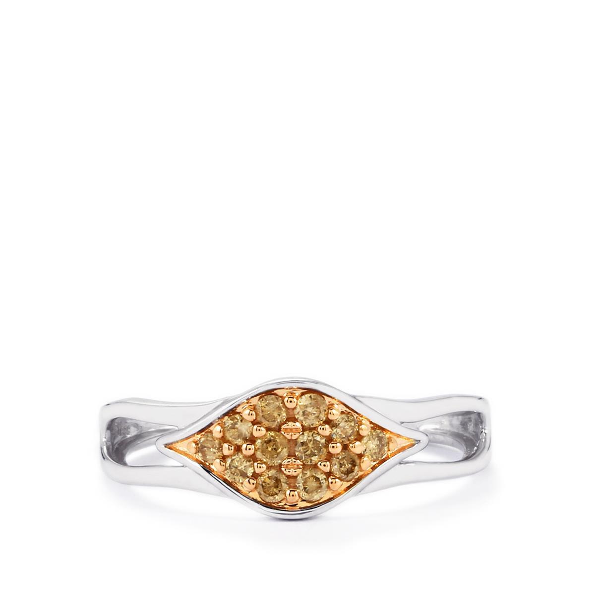 champagne diamond ring in 9k white gold 02ct yxks73