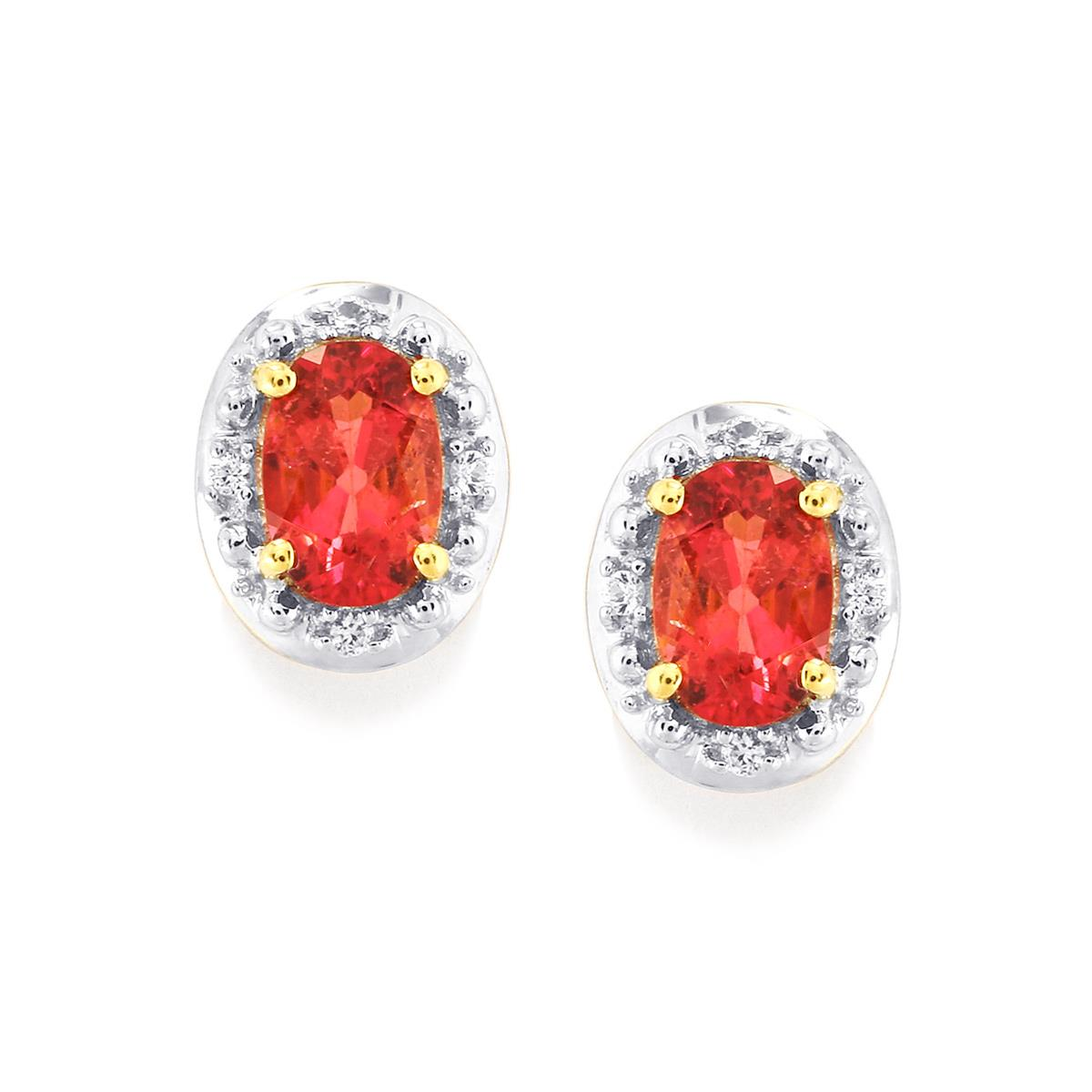 Cruzeiro Rubellite Earrings with White Sapphire in 9K Gold 0.94cts