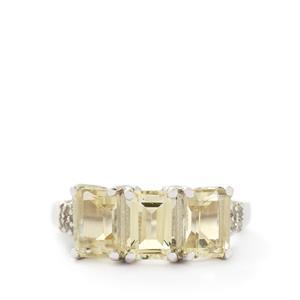 Serenite & White Topaz Sterling Silver Ring ATGW 2.91cts