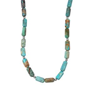 79ct Lhasa Turquoise Sterling Silver Bead Necklace