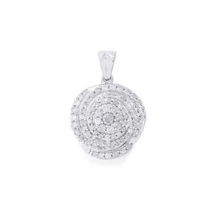 1ct Diamond Sterling Silver Pendant