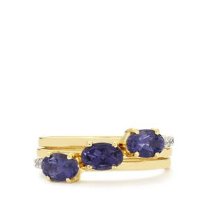 Bengal Iolite Set of 3 Stacker Rings with White Zircon in 10k Gold 1.29cts