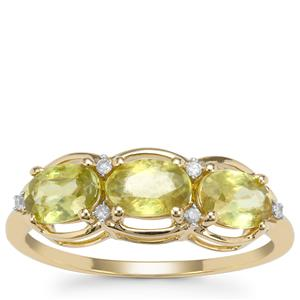 Ambilobe Sphene Ring with Diamond in 9K Gold 1.75cts