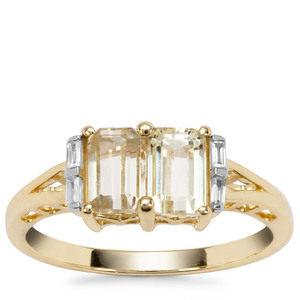 Canary Kunzite Ring with White Zircon in 9K Gold 1.89cts
