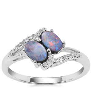 Crystal Opal on Ironstone Ring with White Topaz in Sterling Silver
