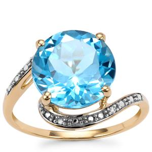 Swiss Blue Topaz Ring with Diamond in 9K Gold 5.68cts