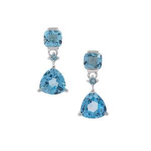 4.37ct Swiss Blue Topaz Sterling Silver Earrings
