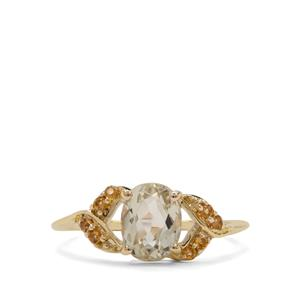 Minas Novas Hiddenite Ring with Diamantina Citrine in 9K Gold 1.76cts
