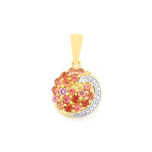 Natural Pink Tourmaline Pendant with White Zircon in 10k Gold 1cts