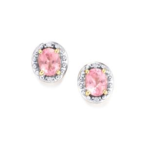 Mozambique Pink Spinel Earrings with Diamond in 9K Gold 0.74ct