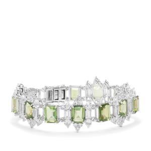 Fern Green Quartz & White Topaz Sterling Silver Bracelet ATGW 32.06cts