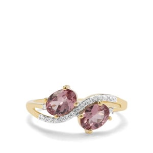 Natural Purple Pink Spinel & White Zircon 9K Gold Ring ATGW 1.37cts