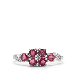 Padparadscha Sapphire Ring with Diamond in 10k White Gold 1.18cts
