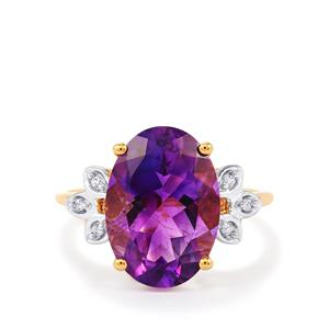 The Jewel of Morocco Amethyst & White Zircon 9K Gold Ring ATGW 4.79cts