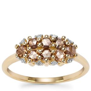 Champagne Diamond Ring with White Diamond in 9K Gold 0.60ct