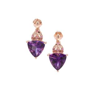 Moroccan Amethyst & Pink Sapphire 9K Rose Gold Earrings ATGW 3cts