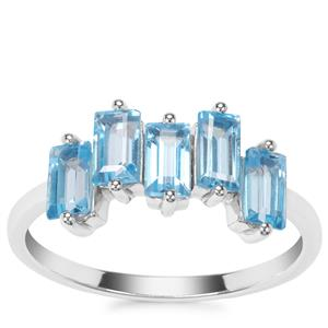 Swiss Blue Topaz Ring in Sterling Silver 1.57cts
