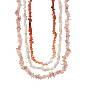 White, Peruvian Pink and Fire Opal Set of 3 Nuggets Bead Necklace 370cts