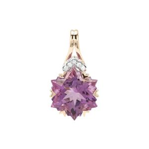 Wobito Snowflake Cut Ametista Amethyst Pendant with Diamond in 9K Gold 4.12cts